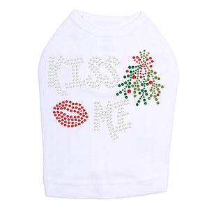 Kiss Me under the Mistletoe Dog Tank- White