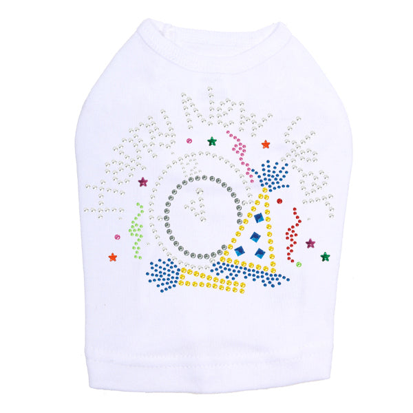 Happy New Year Clock - Dog Tank White