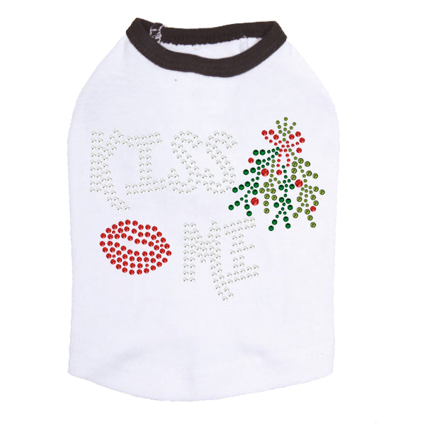 Kiss Me under the Mistletoe Dog Tank- White Black