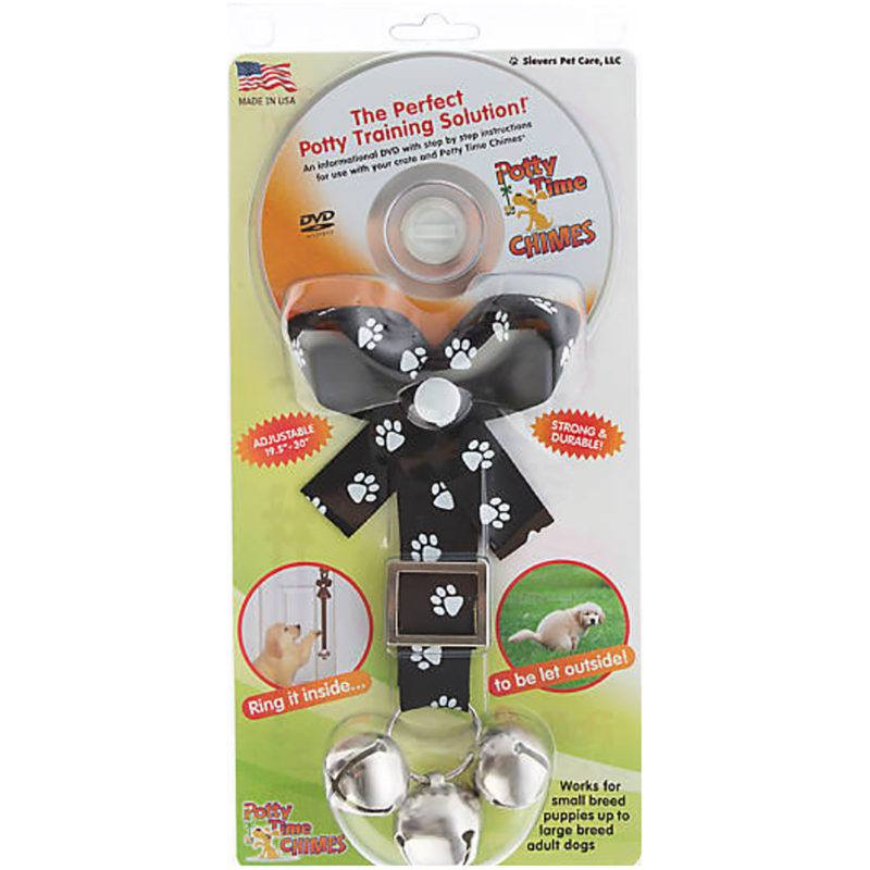 White Paw Print on Black Potty Time Chimes Training Aid