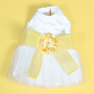 Madeleine Harness Dog Dress With Yellow Sash