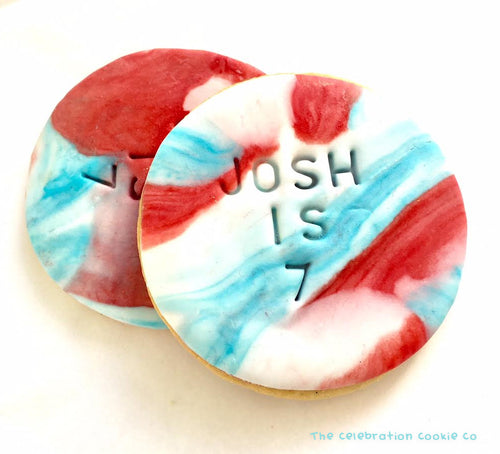 Custom Birthday Cookies - Red/Blue Marble Rounds