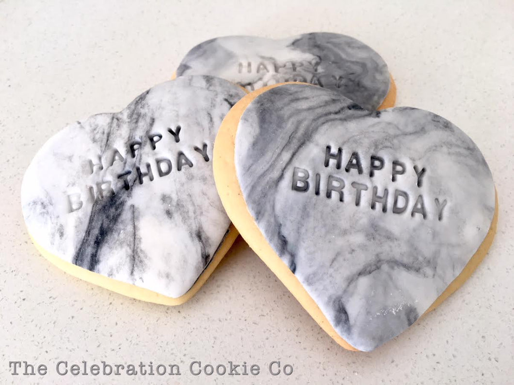 Happy Birthday Hearts - Black Marble