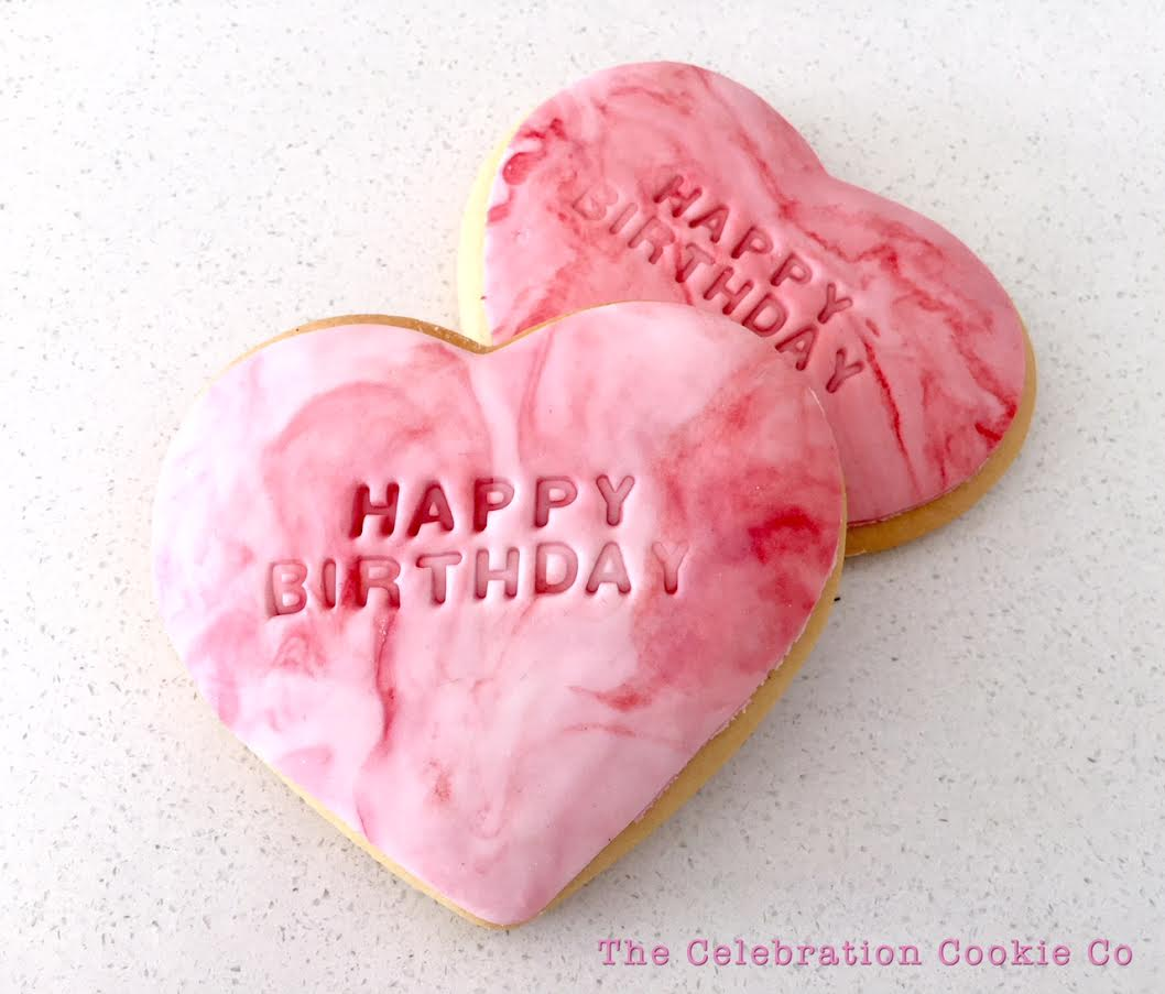 Happy Birthday Hearts Pink Marble The Celebration Cookie Co