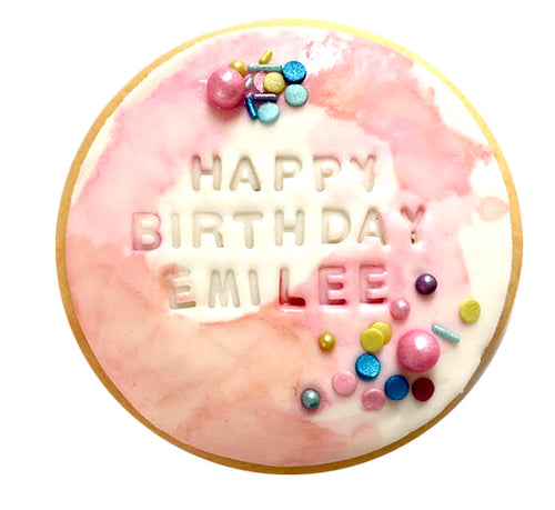Happy Birthday Watercolour Rounds - Pink with Sprinkles