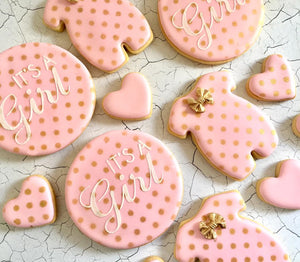 Its A Girl - Pink & Gold Cookies
