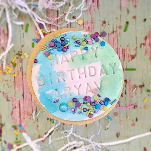 Happy Birthday Watercolour Rounds - Blue/Green