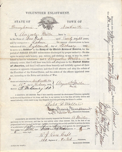Civil War enlistment papers