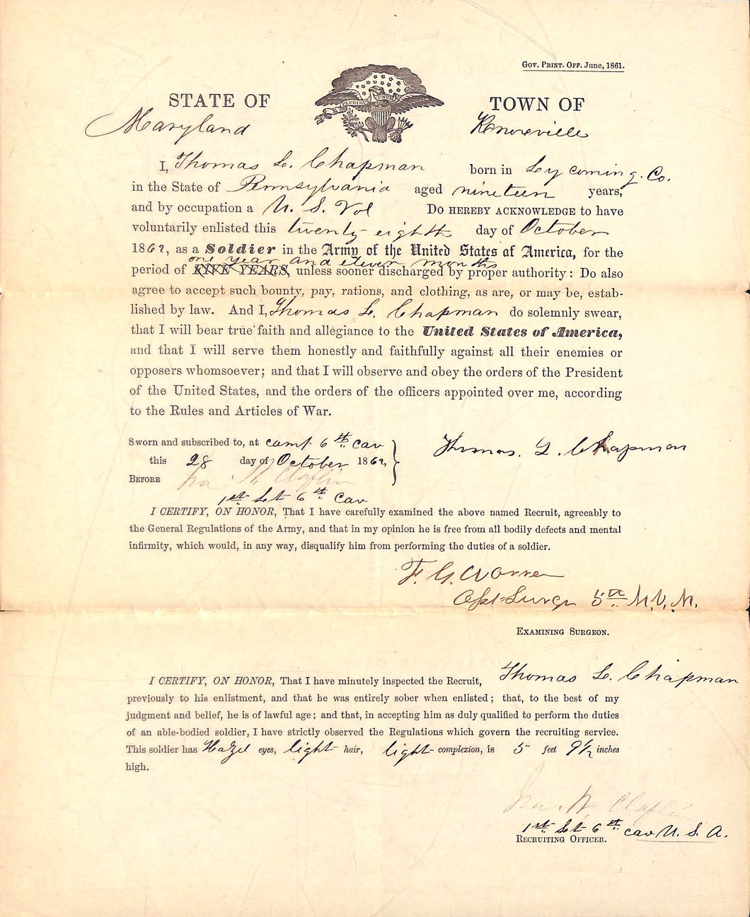 Regular army Enlistment Papers