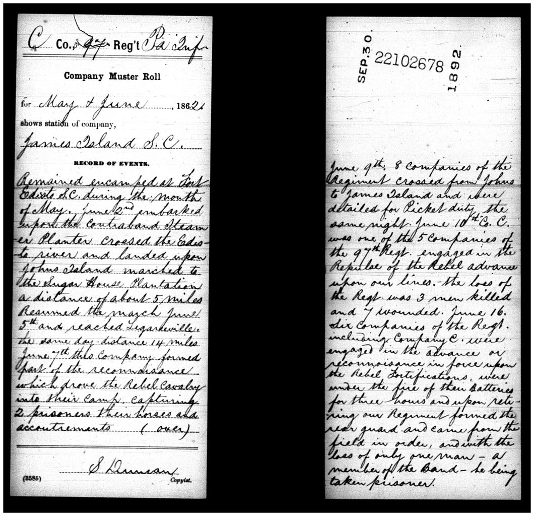 Civil War Company's Records of Events