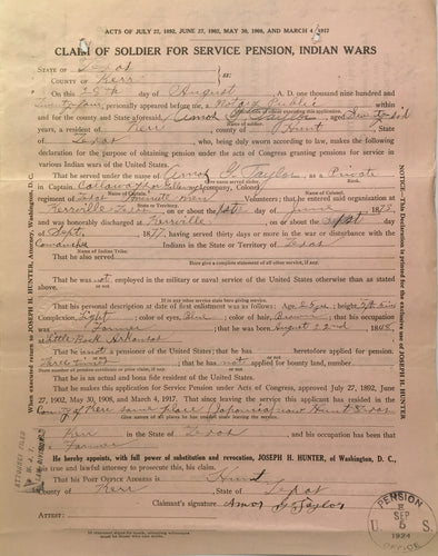Indian War Pension File and Compiled Service Records