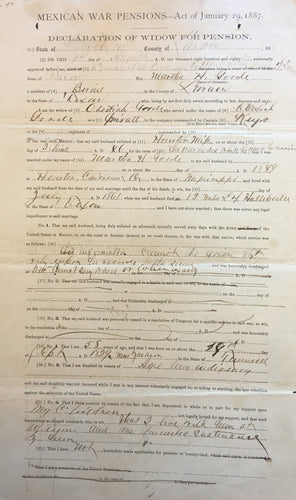 Mexican War Pension File