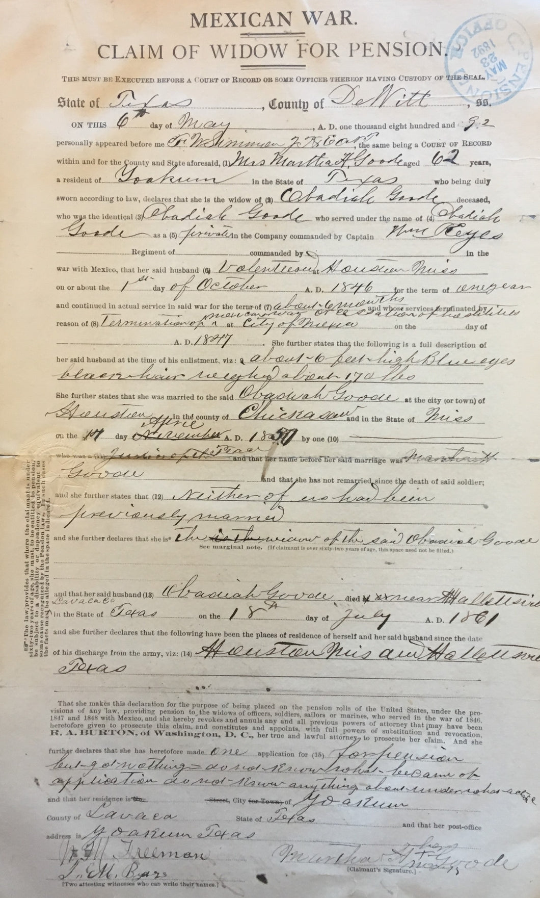Mexican War Pension File and Compiled Service Records