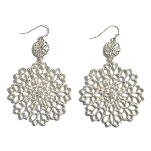 Flower Filigree Drop Earrings