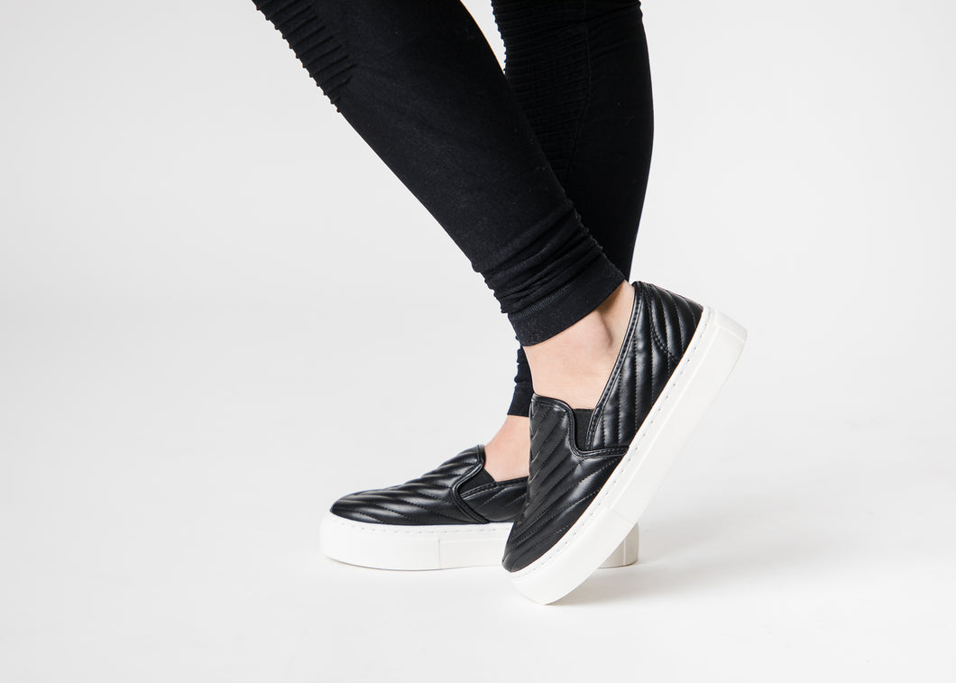 Black Quilted Sneakers