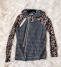 Load image into Gallery viewer, Leopard + Stripe Hoodie