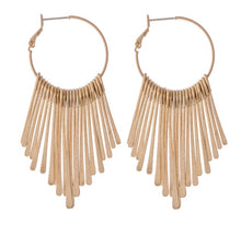 Load image into Gallery viewer, Metal Tassel Hoop Earrings