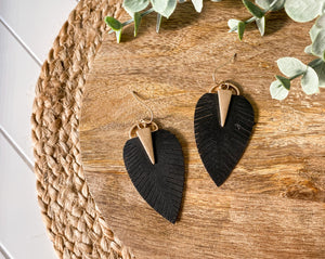 Faux Leather Leaf Earrings