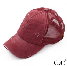 Load image into Gallery viewer, C.C Ponytail Distressed Hat