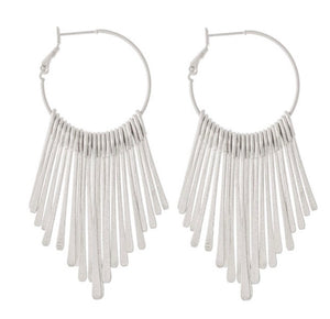 Metal Tassel Hoop Earrings