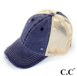 C.C Ponytail Distressed Hat