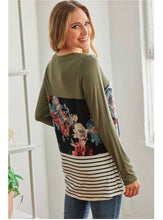 Load image into Gallery viewer, Floral + Stripe Keyhole Top