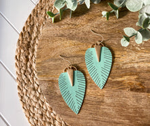 Load image into Gallery viewer, Faux Leather Leaf Earrings