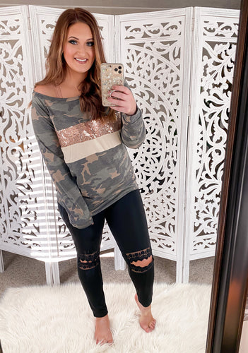 Camo Sequin Top