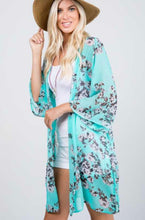 Load image into Gallery viewer, Mint/Grey Floral Kimono