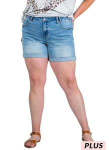High-rise Cuffed Denim Shorts
