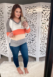 Color Block Hooded Sweater