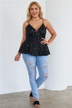 Load image into Gallery viewer, Black Sequin Peplum Top