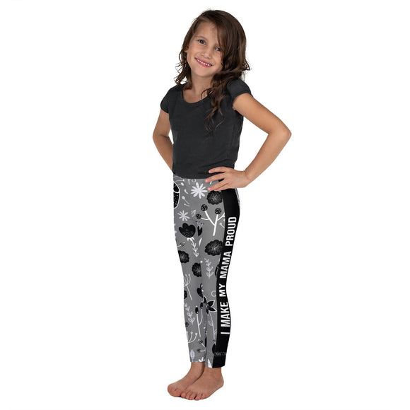 I Make My Mama Proud - Flower Pattern Kid's Leggings - Maker & Mine