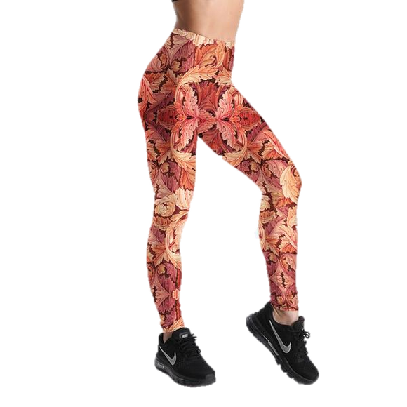 Red leaf Digital Print Leggings