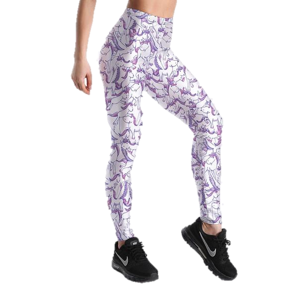 Purple Cartoon Print Leggings