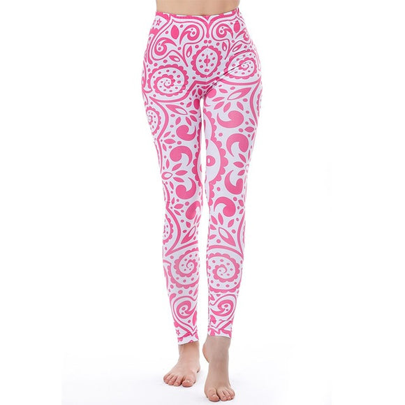 Pink Mandala Flowers Leggings
