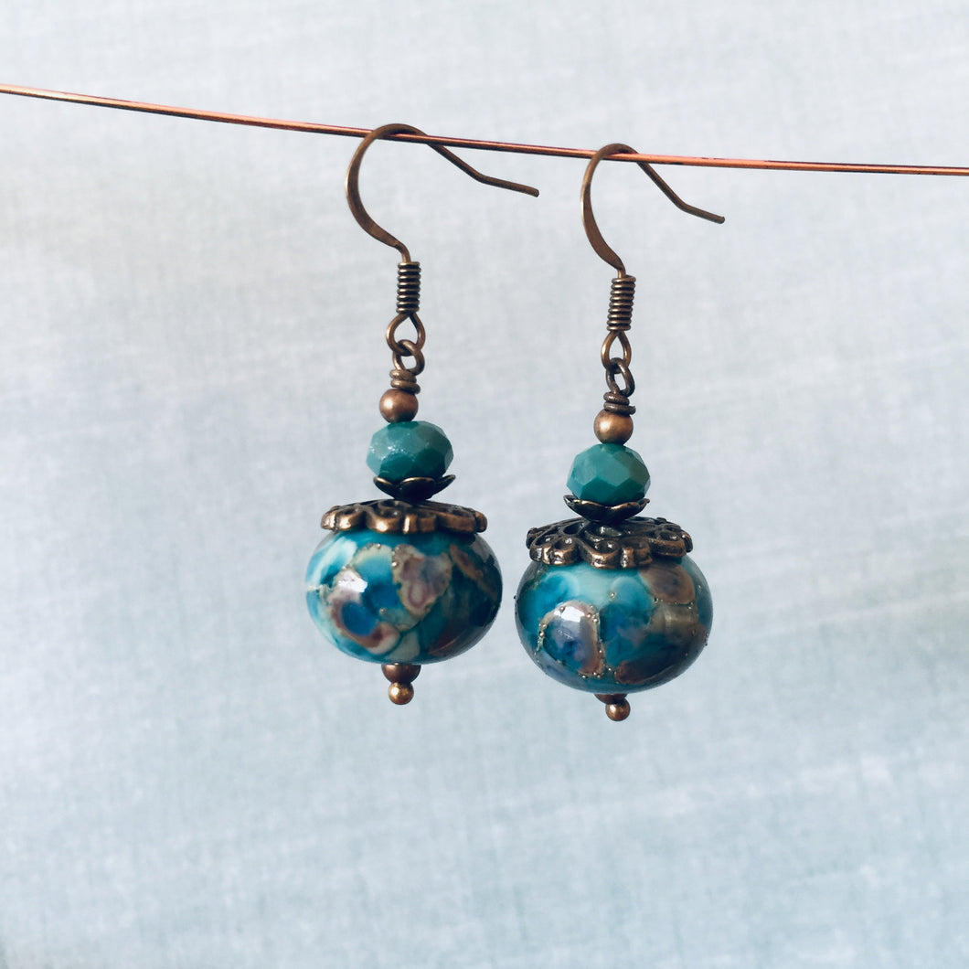 Oil Stain Blue Drops with Deep Teal Bead