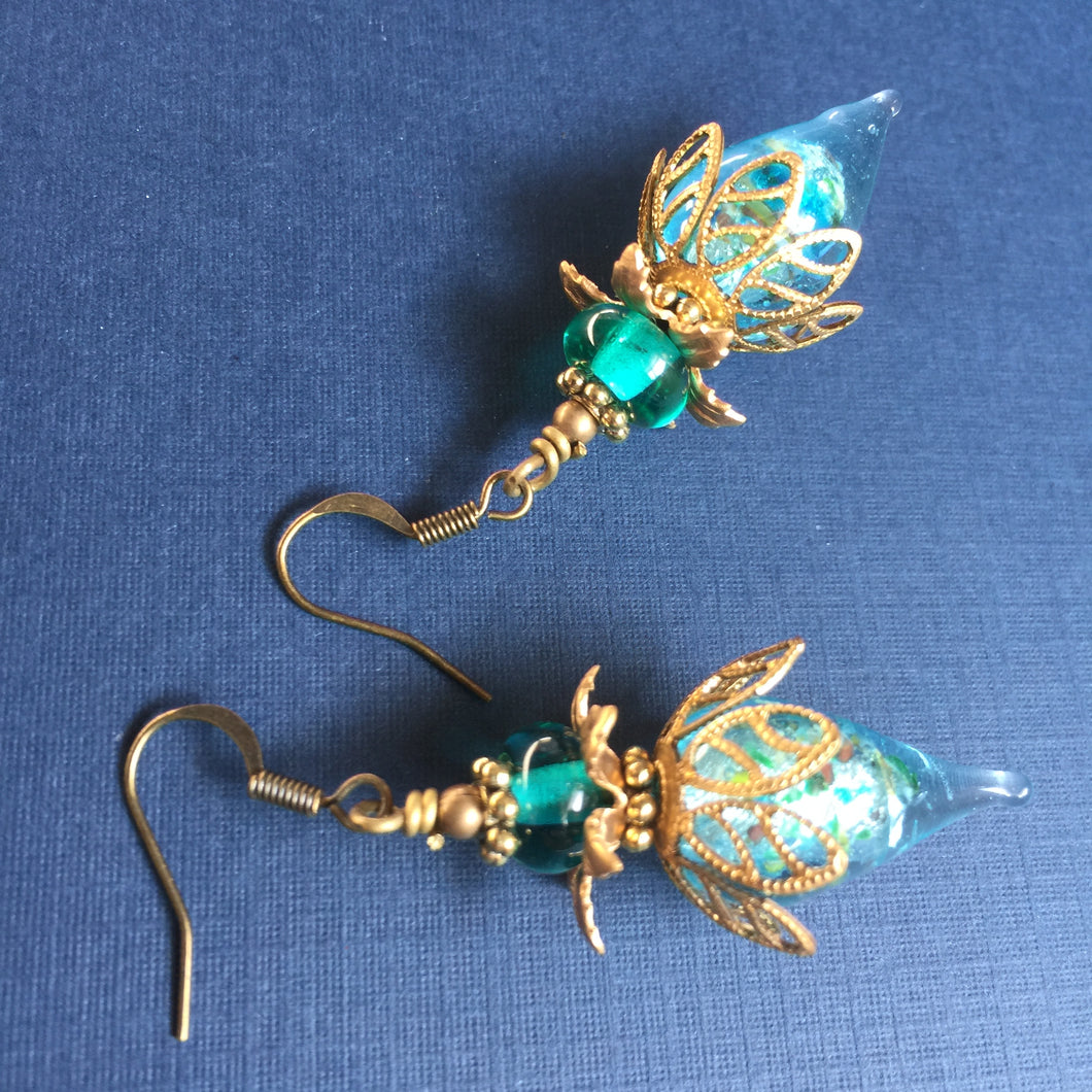 Brass Filigree Topper on Lampwork Drops