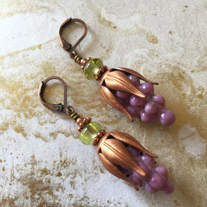 Lavender with Brass Bead Topper Clear Green Bead