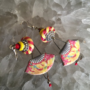 Yellow and Red Fans Ceramic