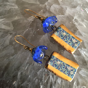Blue and Gold Ceramic with Lampwork Flower Bead