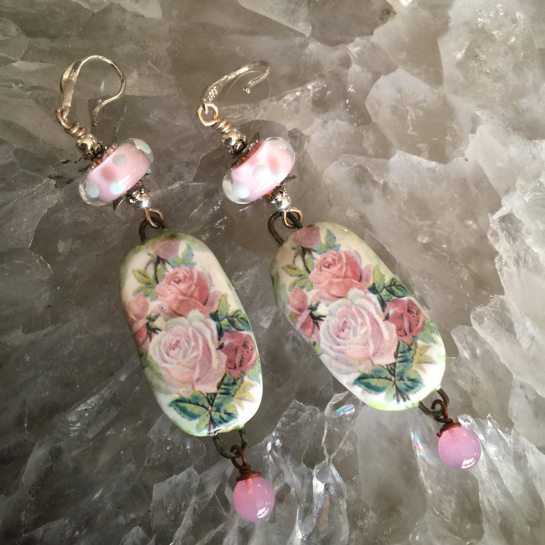 Pink Roses Ceramic with Polka Dot Beads