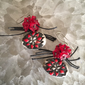 Red and White Ceramic Flowers with Red Glass Flower Beads and String