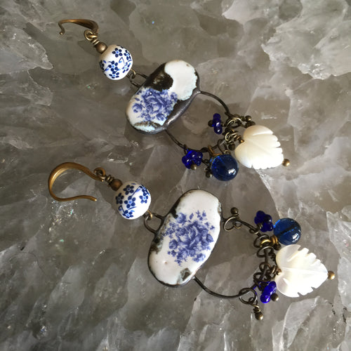 Blue and White Ceramic with mother of Pearl Leaves