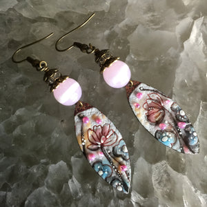 Pink Lily Enamel Almonds with Pink Bead