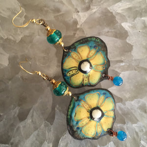 Large Blue and Yellow Enamel