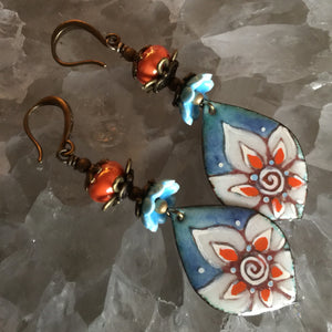 Blue and Orange Bright Flowers Enamel Orange Beads
