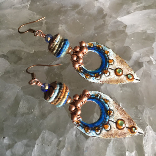 Blue and Brown Enamel with Bronze Beads and Fiber Bead