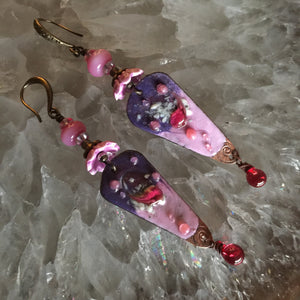 Pink and Purple Enamel Glass and Ceramic Beads