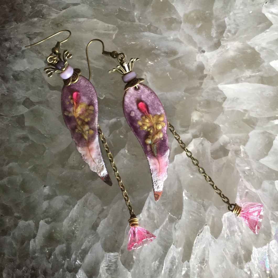 Long Purple and Pink Enamel Feathers with Flower Dangle